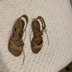 Tan tie up sandals